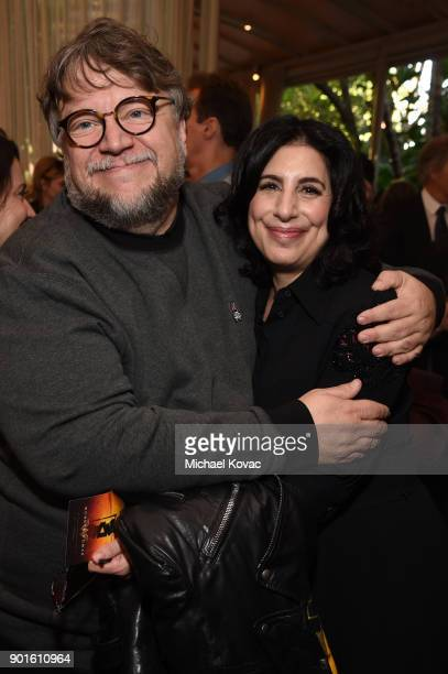 Guillermo del Toro and Warner Bros worldwide distribution and marketing chief Sue Kroll attend the 18th Annual AFI Awards at Four Seasons Hotel Los...