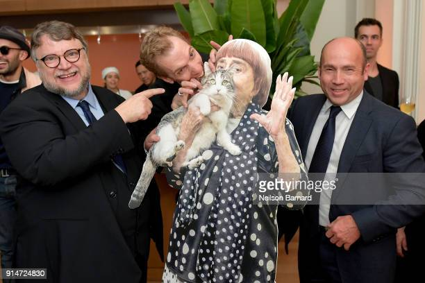 Guillermo del Toro Doug Jones and J Miles Dale pose with a cutout of French filmmaker Agnes Varda during The Hollywood Reporter 6th Annual Nominees...