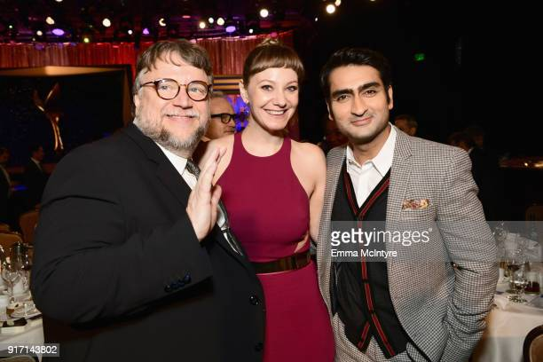 Guillermo Del Toro Emily V Gordon and Kumail Nanjiani attend the 2018 Writers Guild Awards LA Ceremony at The Beverly Hilton Hotel on February 11...