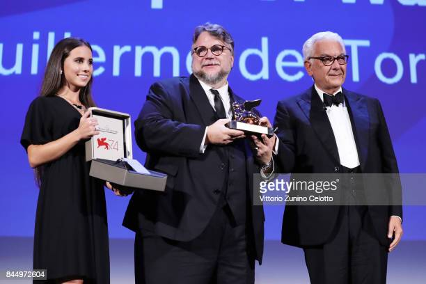 Guillermo del Toro receives the Golden Lion for Best Film Award for 'The Shape Of Water' from President of the festival Paolo Baratta during the...