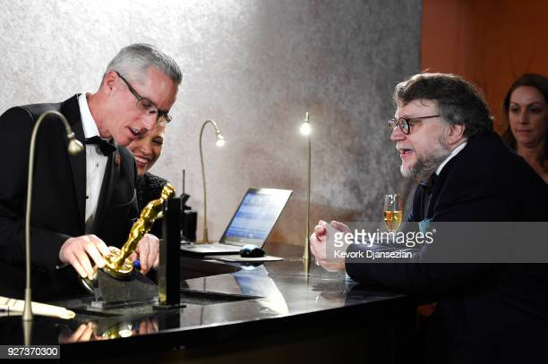 Guillermo del Toro winner of Best Director and Best Picture for 'Shape of Water' at the engraving station of the 90th Annual Academy Awards Governors...
