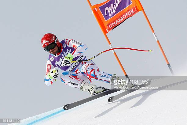 Guillermo Fayed of France competes during the Audi FIS Alpine Ski World Cup Men's Downhill Training on February 18 2016 in Chamonix France