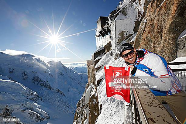 Guillermo Fayed of France in the Aiguille du midi Skywalk during the Audi FIS Alpine Ski World Cup Men's Downhill Training on February 17 2016 in...