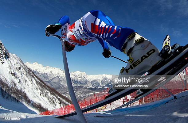 Guillermo Fayed of France starts for the Men's Downhill Training at the Audi FIS World Cup on February 8, at Rosa Khutor Mountain Resort in Sochi,...