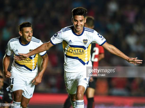 Guillermo Fernandez of Boca Juniors celebrates after scoring the first goal of his team during a match between Colon and Boca Juniors as part of...