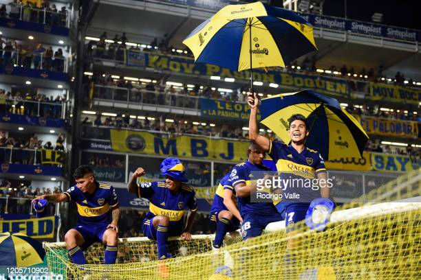 Guillermo Fernandez of Boca Juniors celebrates with teammates winning the Superliga 2019/20 after a match between Boca Juniors and Gimnasia as part...