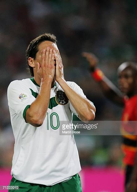 Guillermo Franco of Mexico shows his frustration during the FIFA World Cup Germany 2006 Group D match between Mexico and Angola played at the Stadium...
