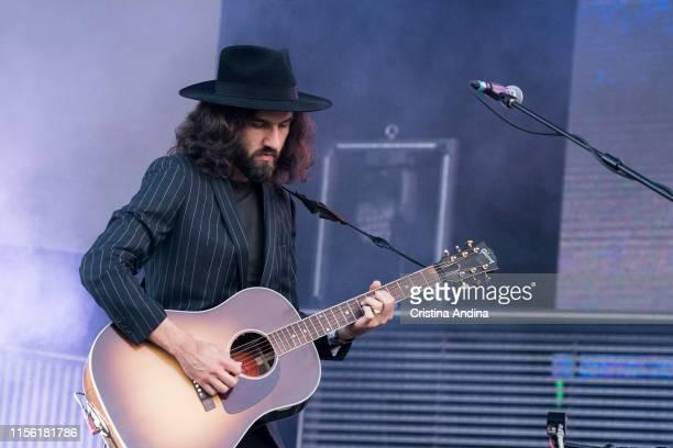 Guillermo Galván, guitarrist of Vetusta Morla, performs during the last day of the O Son do Camino Festival on June 15, 2019 in Santiago de...