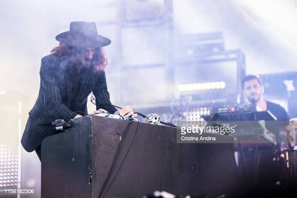 Guillermo Galván of Vetusta Morla playing the piano during the last day of the O Son do Camino Festival on June 15, 2019 in Santiago de Compostela,...