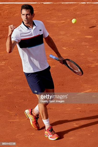 Guillermo García López of Spain reacts against Yuichi Sugita of Japan during first day of the Barcelona Open Banc Sabadell at the Real Club de Tenis...