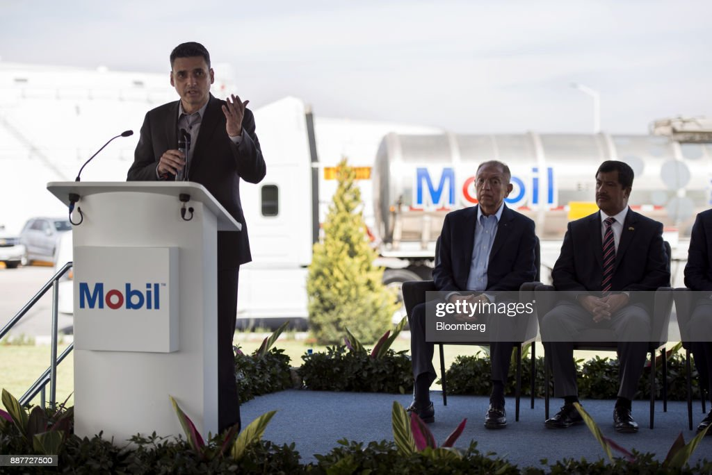 Guillermo Garcia Alcocer, president of the Energy Regulatory Commission (CRE), speaks during the unveiling of the Exxon Mobil Corp. fuel terminal in San Jose Iturbide, Mexico, on Wednesday, Dec. 6, 2017. Exxon Mobil Corp. is joining Chevron Corp. and other U.S. refiners to supply the newly free Mexican fuel market. Exxon Mobil indicated Wednesday that it will open 50 service stations by the end of first quarter and invest more than $300 million in Mexico's energy sector. Photographer: Jonathan Levinson/Bloomberg via Getty Images
