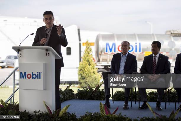Guillermo Garcia Alcocer president of the Energy Regulatory Commission speaks during the unveiling of the Exxon Mobil Corp fuel terminal in San Jose...