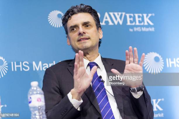 Guillermo Garcia Alcocer president of the Energy Regulatory Commission speaks during the 2018 CERAWeek by IHS Markit conference in Houston Texas US...