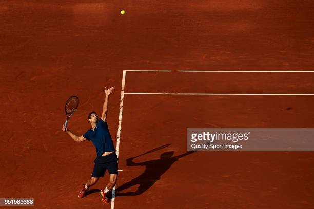 Guillermo Garcia Lopez in action in his match against Rafa Nadal during fourth day of the Barcelona Open Banc Sabadell at the Real Club de Tenis...