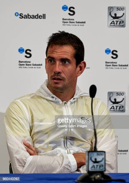 Guillermo Garcia Lopez of Spain at press conference during first day of the Barcelona Open Banc Sabadell at the Real Club de Tenis Barcelona on April...