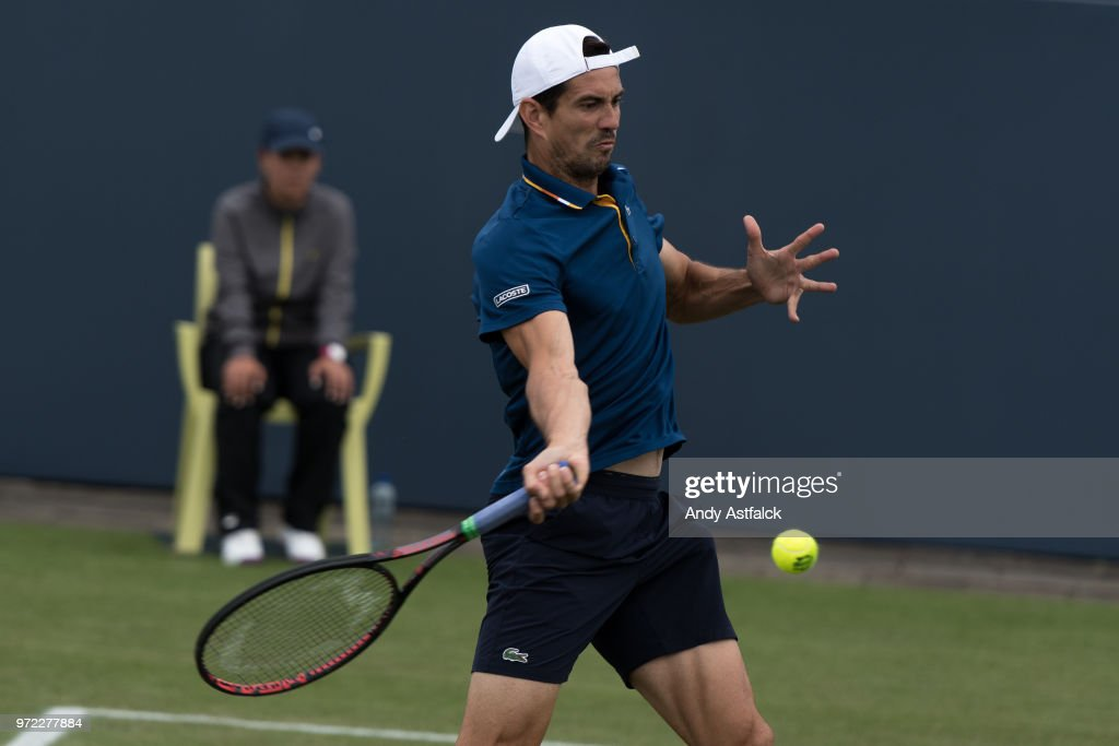 Guillermo Garcia-Lopez from Spain hits a forehand during his First Round, Men's Singles Match against Jeremy Chardy France on Day Two of the Libema Open 2018 on June 12, 2018 in Rosmalen, Netherlands.
