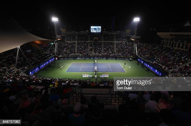 Guillermo Garcia-Lopez of Spain and Andy Murray of Great Britain in action during their second round match on day four of the ATP Dubai Duty Free...