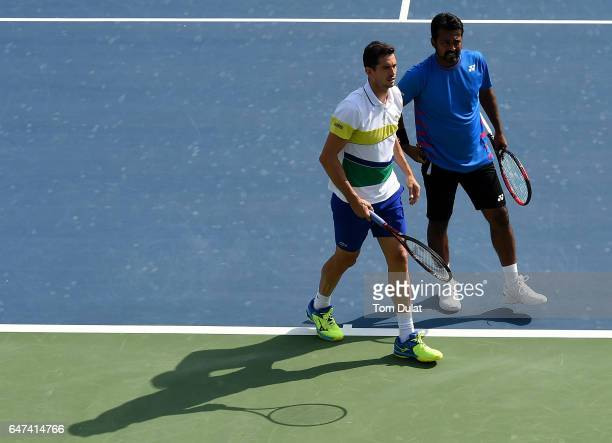 Guillermo Garcia-Lopez of Spain and Leander Paes of India during their semi final match against Rohan Bopanna of India and Marcin Matkowski of Poland...