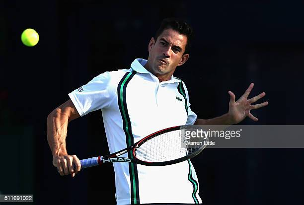 Guillermo Garcia-Lopez of Spain in action against Feliciano Lopez of Spain during day two of the ATP Dubai Duty Free Tennis Championship at the Dubai...