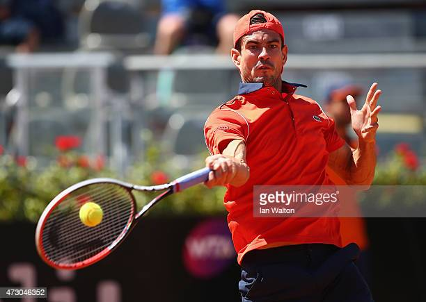 Guillermo Garcia-Lopez of Spain in action during his match against Marin Cilic of Croatia on Day Three of the The Internazionali BNL d'Italia 2015 at...