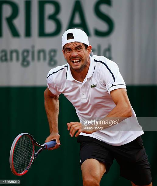 Guillermo Garcia-Lopez of Spain in action in his Men's Singles match against Steve Johnson of the United States on day one of the 2015 French Open at...