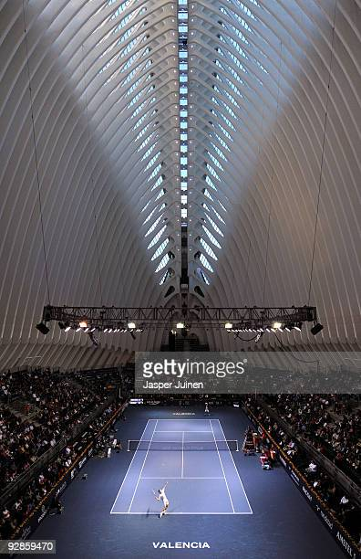 Guillermo Garcia-Lopez of Spain serves the ball in his quarter final match against Nikolay Davydenko of Russia during the ATP 500 World Tour Valencia...
