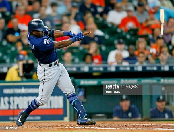Guillermo Heredia of the Seattle Mariners breaks his bat as he pops out to Jose Altuve of the Houston Astros in the third inning at Minute Maid Park...