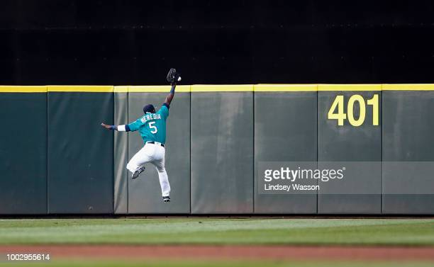 Guillermo Heredia of the Seattle Mariners can't get to the RBI double by Daniel Palka of the Chicago White Sox in the first inning at Safeco Field on...