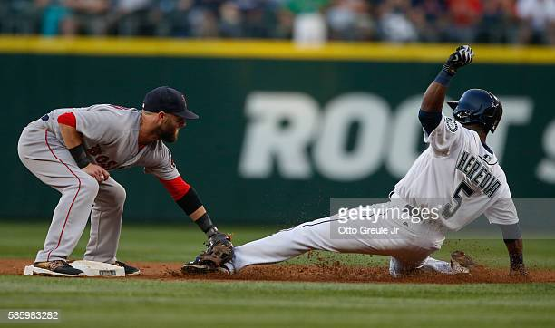 Guillermo Heredia of the Seattle Mariners is tagged out on a steal attempt by second baseman Dustin Pedroia of the Boston Red Sox in the third inning...