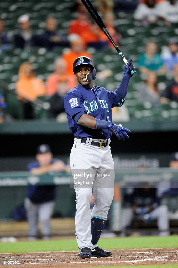 Guillermo Heredia #5 of the Seattle Mariners reacts after striking out in the third inning against the Baltimore Orioles at Oriole Park at Camden Yards on August 29, 2017 in Baltimore, Maryland.