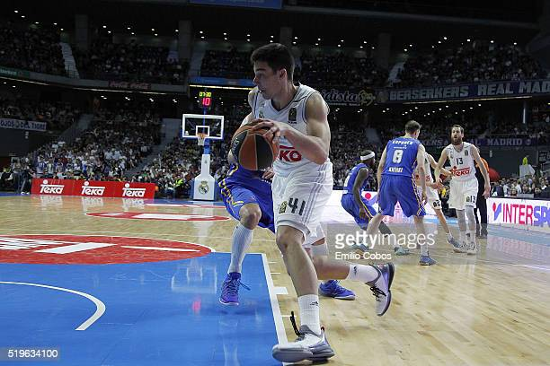 Guillermo Hernangomez #41 of Real Madrid in action during the 20152016 Turkish Airlines Euroleague Basketball Top 16 Round 14 game between Real...