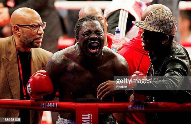 Guillermo Jones of Panama celebrates after defeating Denis Lebedev of Russia during their WBA cruiserweight title bout at the Crocus City Hall on May...