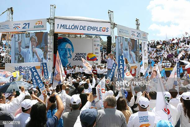 Guillermo Lasso cen presidential candidate for the alliance CreoSUMA along with his binomial Andrés Páez begin their electoral campaign with...