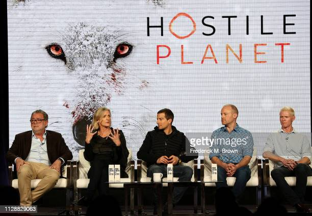 R Guillermo Navarro Martha Holmes Bear Grylls Tom HughJones Mateo Willis of the television show Hostile Planet speak during the National Geographic...