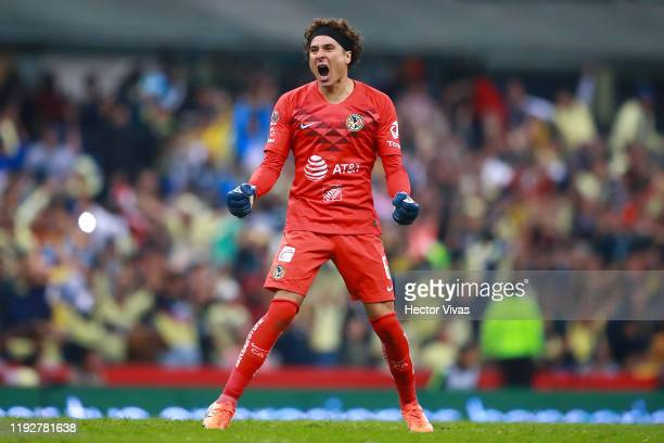 Guillermo Ochoa celebrates after winning the Semifinals second leg match between America and Morelia as part of the Torneo Apertura 2019 Liga MX at...