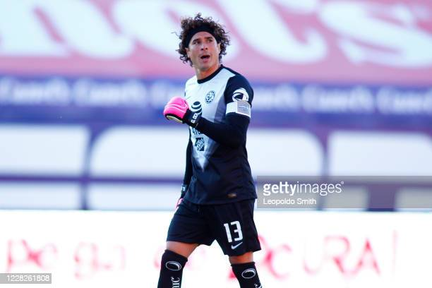 Guillermo Ochoa celebrates the first goal of his team during the 7th round match between Atletico San Luis v America as part of the Torneo Guard1anes...