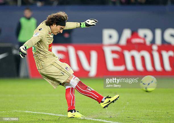 Guillermo Ochoa goalkeeper of AC Ajaccio in action during the French Ligue 1 match between Paris Saint Germain FC and AC Ajaccio at the Parc des...