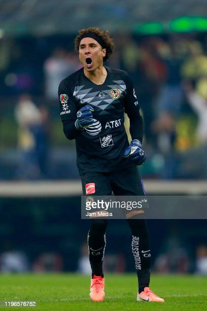 Guillermo Ochoa, Goalkeeper of America celebrates after the first goal of his team during the Final second leg match between America and Monterrey as...