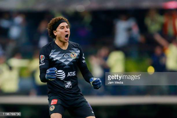 Guillermo Ochoa goalkeeper of America celebrates the second goal of his team later nullifyied by the VAR during the Final second leg match between...