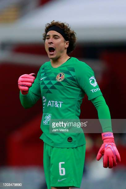 Guillermo Ochoa Goalkeeper of America shouts during the 4th round match between America and FC Juarez as part of the Torneo Clausura 2020 Liga MX at...