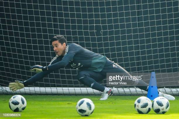 Guillermo Ochoa goalkeeper of Mexico in action during Mexico National Team training session ahead of the international friendly match against Uruguay...