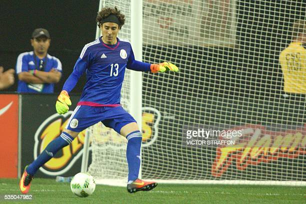 Guillermo Ochoa goalkeeper of Mexico kicks the ball during the friendly match between the Mexican national team and Paraguay national team at the...