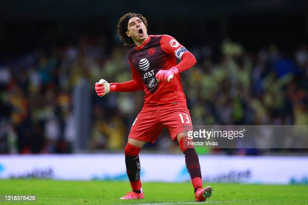 Guillermo Ochoa of America celebrates after the second goal of his team during the quarterfinals second leg match between America and Pachuca as part...