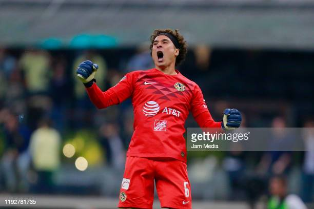 Guillermo Ochoa of America celebrates after winning the Semifinals second leg match between America and Morelia as part of the Torneo Apertura 2019...