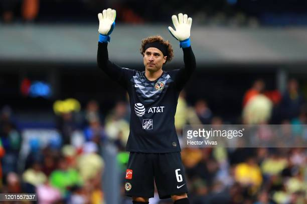 Guillermo Ochoa of America gestures during the 2nd round match between America and Tigres UANL as part of the Torneo Clausura 2020 Liga MX at Azteca...