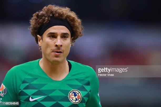 Guillermo Ochoa of America looks on during the 9th round match between America and Pumas UNAM as part of the Torneo Apertura 2019 Liga MX at Azteca...