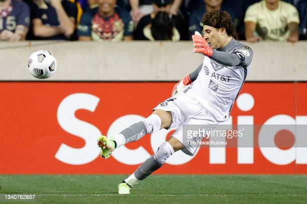 Guillermo Ochoa of Club America clears the ball against Philadelphia Union during the semifinal second leg match of the CONCACAF Champions League...