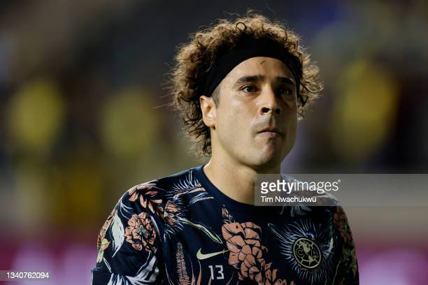 Guillermo Ochoa of Club America looks on during the semifinal second leg match of the CONCACAF Champions League 2021 at Subaru Park on September 15,...
