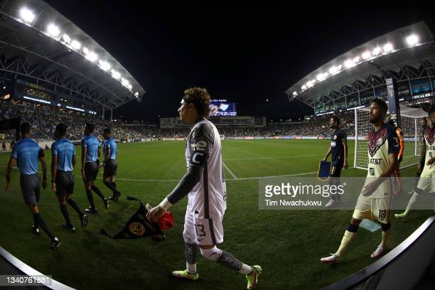 Guillermo Ochoa of Club America walks onto the pitch during the semifinal second leg match of the CONCACAF Champions League 2021 at Subaru Park on...