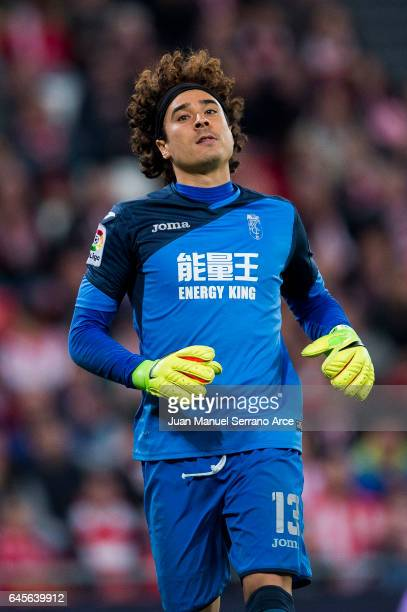 Guillermo Ochoa of Granada CF reacts during the La Liga match between Athletic Club Bilbao and Granada CF at San Mames Stadium on February 26 2017 in...